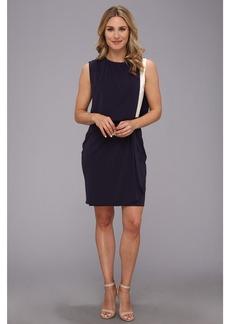 DKNYC Matte Jersey Drop Shoulder Draped Front Dress w/ Exposed Zipper