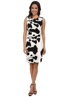 DKNYC Printed Lightweight Jersey Ruched Dress