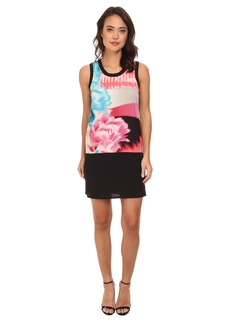 DKNYC Printed Shift Dress w/ Solid Piecing