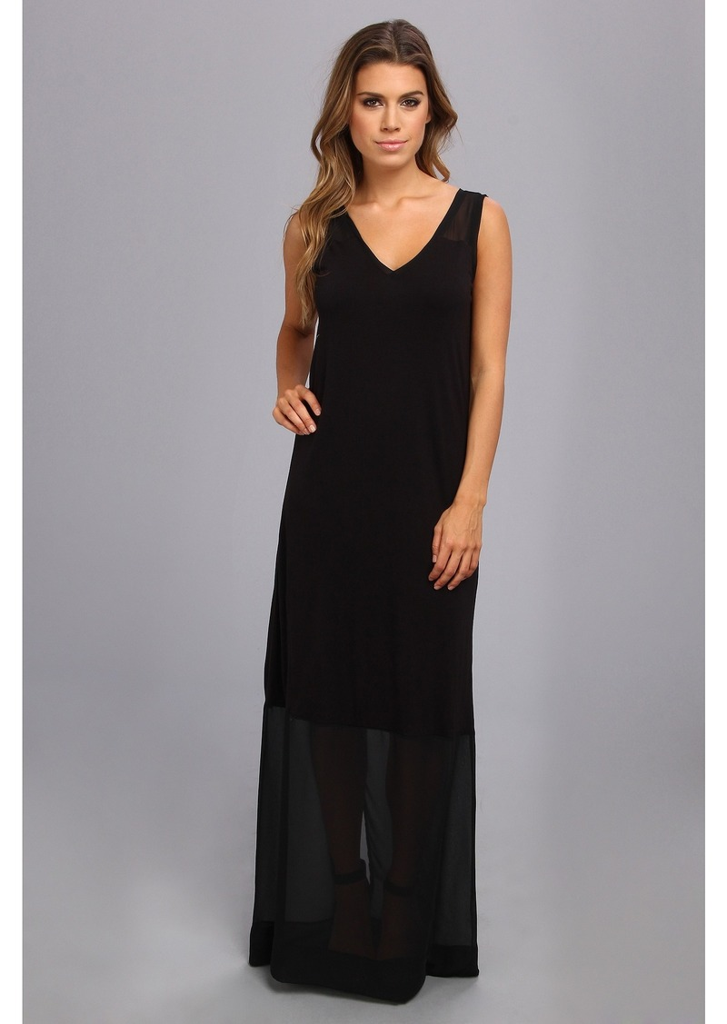 DKNYC Sleeveless V-Neck Maxi Dress w/ Chiffon Yoke and Hem