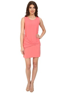DKNYC Tech Crepe w/ Chiffon Overlay Drape Dress
