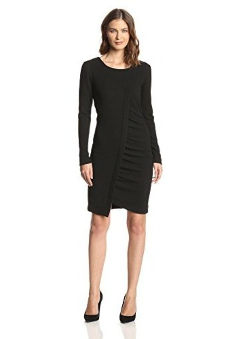 DKNYC Women's Long-Sleeve Ruched Dress
