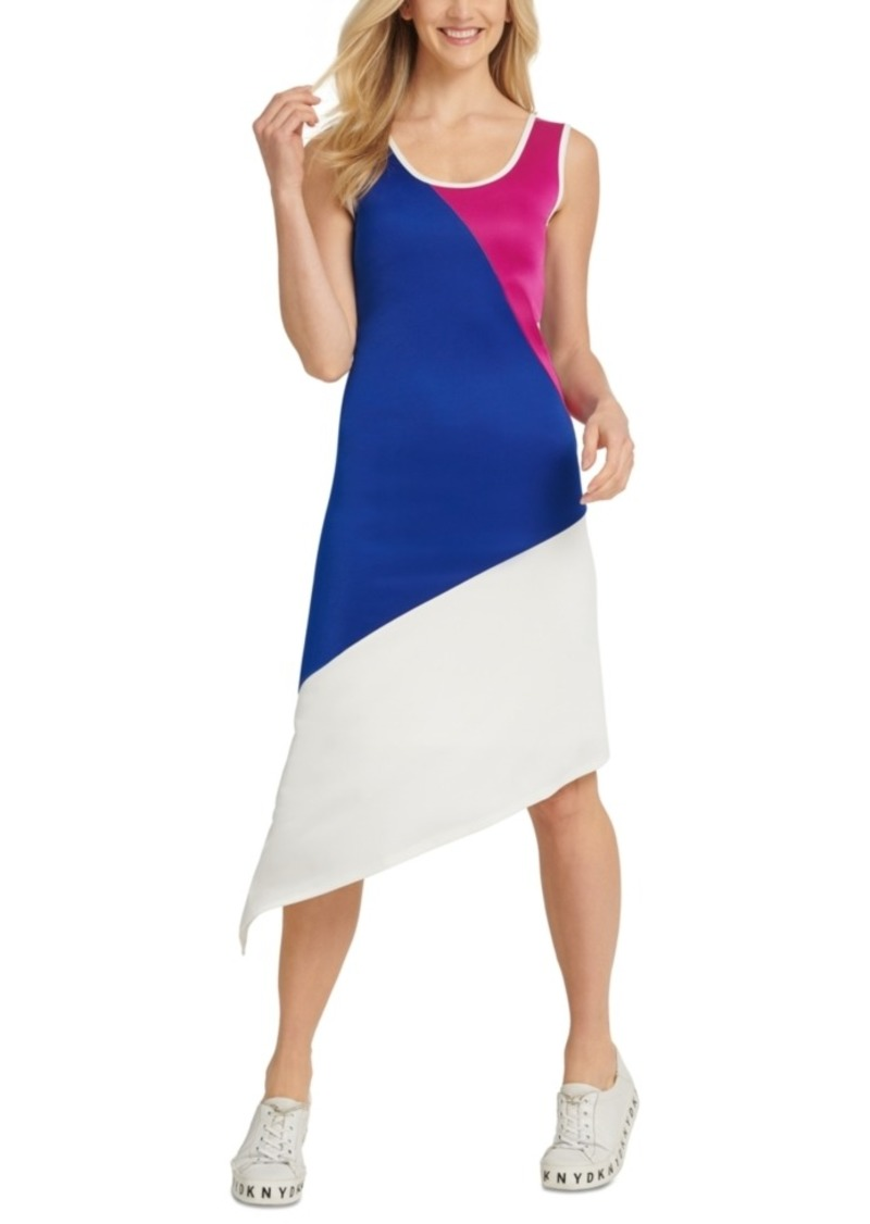 DKNY Dkyn Colorblocked Asymmetrical Sleeveless Dress