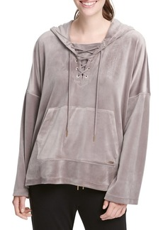 DKNY Donna Karan Active Velvet Lace-Up Hoodie