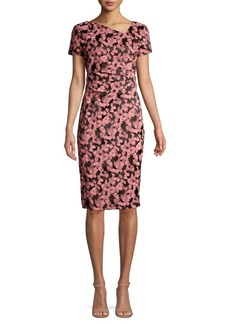 DKNY Donna Karan Asymmetrical Floral Sheath Dress