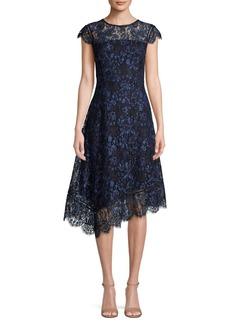 DKNY Donna Karan Asymmetrical Lace Midi Dress