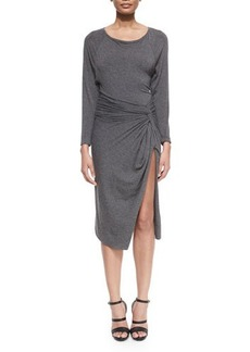 Donna Karan Bateau-Neck Split-Skirt Dress
