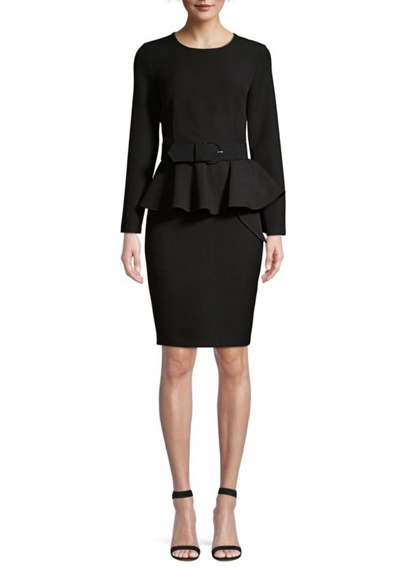 DKNY Donna Karan Belted Peplum Dress
