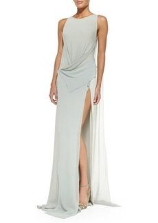 DKNY Donna Karan Bi-Color Draped-Front Evening Gown
