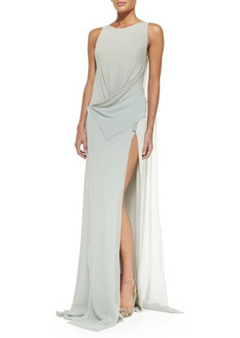 DKNY Donna Karan Bi-Color Draped-Front Evening Gown