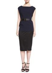 DKNY Donna Karan Cap-Sleeve Colorblock Belted Tunic Dress