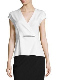 DKNY Donna Karan Cap-Sleeve Peplum Jacket-Style Wrap Top