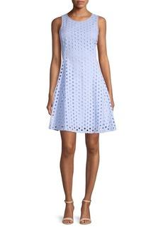 DKNY Donna Karan Circle Eyelet Cotton Fit-&-Flare Dress