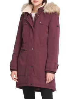 DKNY Donna Karan Classic Faux Fur-Trimmed Parka