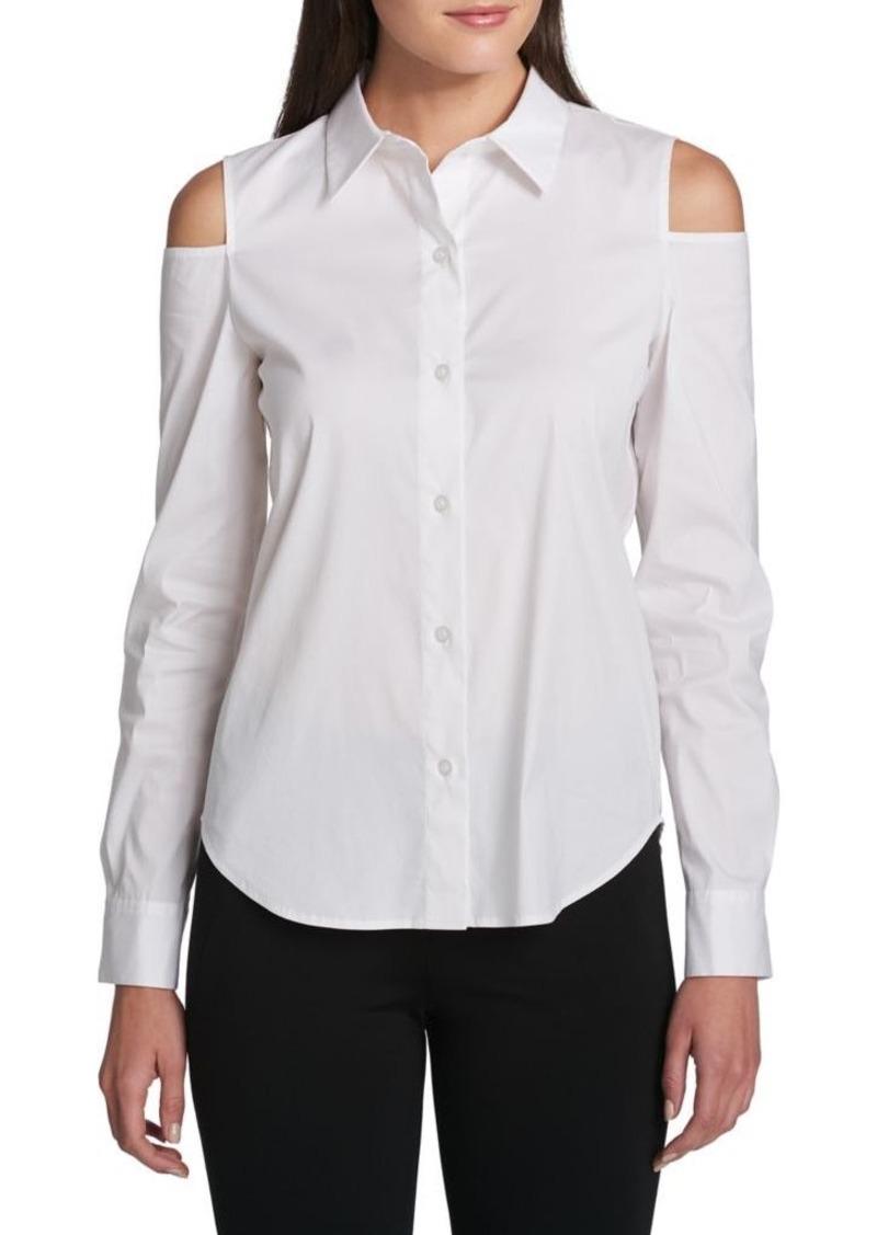 da2cf28e443088 SALE! DKNY Donna Karan New York Cold Shoulder Button-Down Shirt