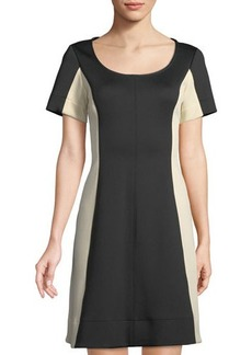 Donna Karan Colorblocked Scuba-Knit A-Line Dress