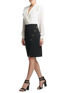 DKNY Donna Karan Contrast Combo Flounce Sheath Dress