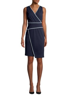 DKNY Donna Karan Contrast-Piped Faux-Wrap Dress
