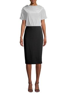 DKNY Donna Karan Cowlneck Cotton Blend Sheath Dress