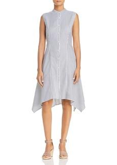 DKNY Donna Karan Directional Stripe Handkerchief Shirt Dress