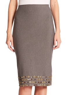 DKNY Donna Karan Embellished Jersey Pencil Skirt