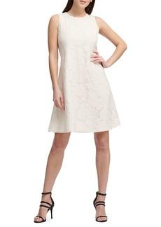 DKNY Donna Karan Embroidered Sleeveless Shift Dress