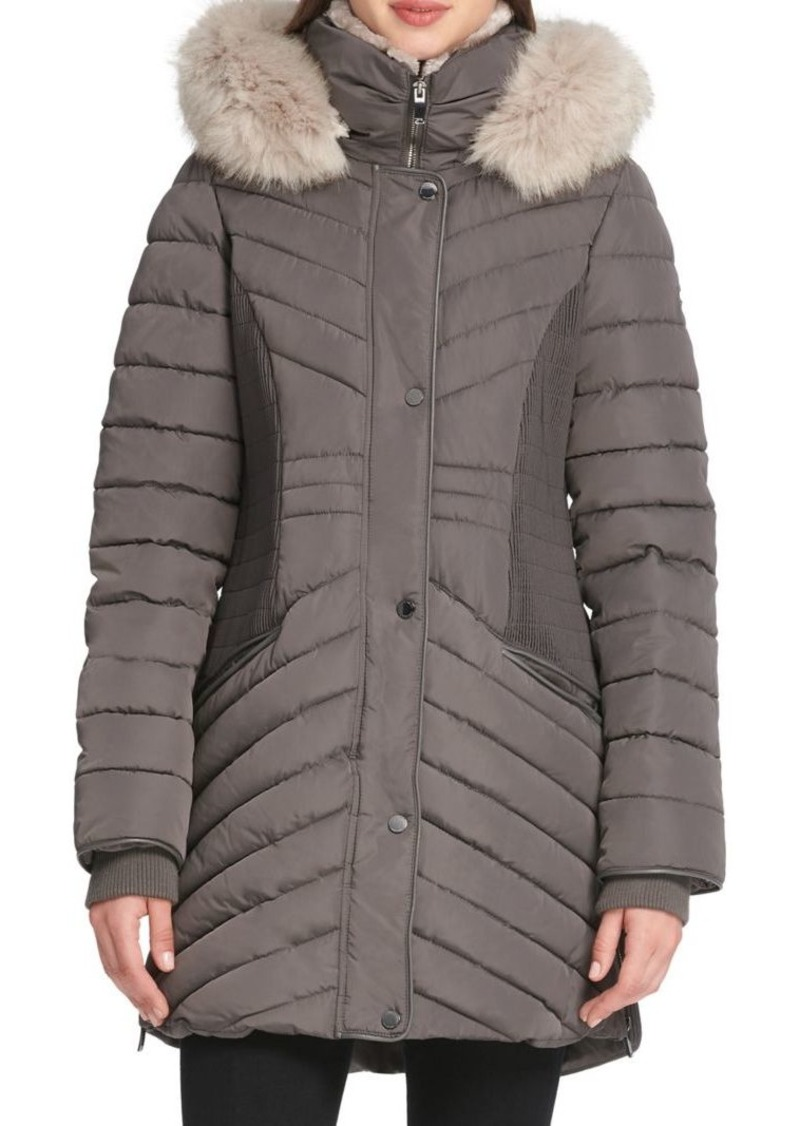 bc61f22688018 DKNY Donna Karan Faux Fur-Trimmed Quilted Coat | Outerwear