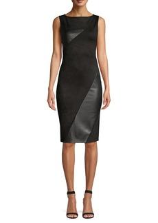 DKNY Donna Karan Faux Leather Paneled Sheath Dress