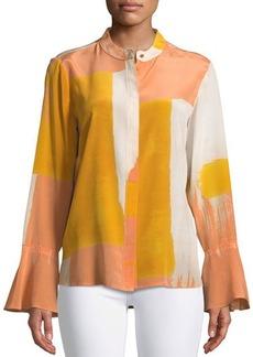 DKNY Donna Karan Flare-Sleeve Mandarin-Collar Button-Front Blouse
