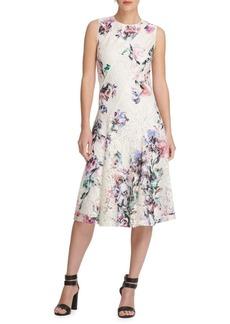 DKNY Donna Karan Floral Asymmetric Scuba Dress