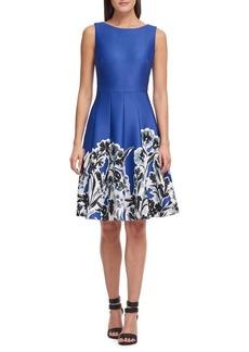 DKNY Donna Karan Floral Bottom Fit-and-Flare Dress