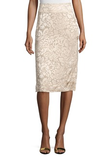 DKNY Floral-Embroidered Pencil Skirt