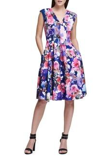 DKNY Donna Karan Floral Fit-and-Flare Dress