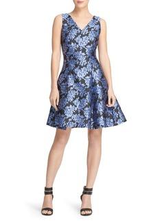 DKNY Donna Karan Floral Jacquard Skater Dress