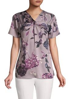 DKNY Donna Karan Floral V-Neck Knot Top