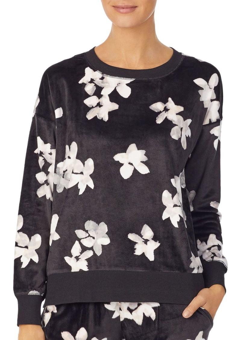 DKNY Donna Karan Floral Velour Top