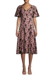 DKNY Donna Karan Flutter Short Sleeve Lace Dress