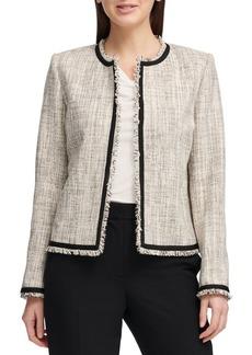 DKNY Donna Karan Frayed Tweed Jacket