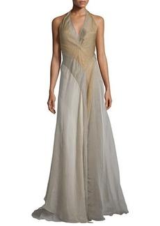 DKNY Donna Karan Halter-Neck Tricolor Evening Gown