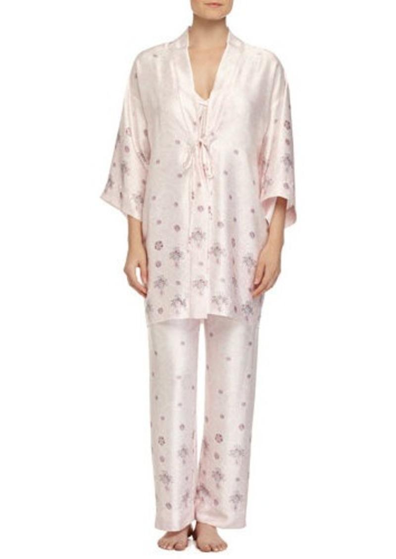 DKNY Donna Karan Jeweled Lace-Printed Satin Robe