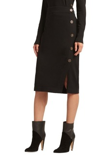 DKNY Donna Karan Knit Bodycon Button Skirt