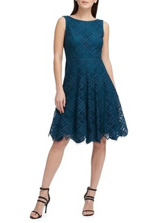 DKNY Donna Karan Lace Sleeveless Fit-and-Flare Dress