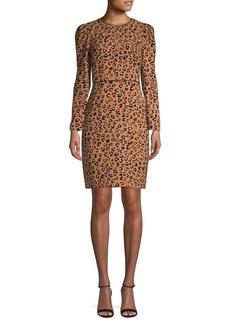 DKNY Donna Karan Leopard-Print Long-Sleeve Sheath Dress