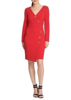 DKNY Donna Karan Long-Sleeve Faux Wrap Sheath Dress