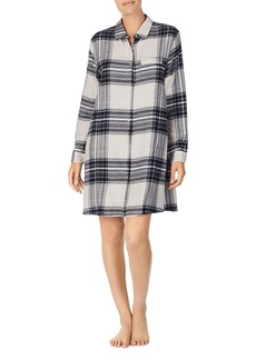DKNY Donna Karan Long-Sleeve Short Plaid Sleepshirt