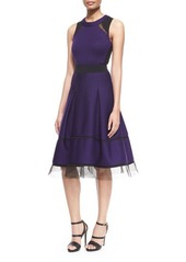 DKNY Donna Karan Mesh-Inset Belted Fit-And-Flare Combo Dress