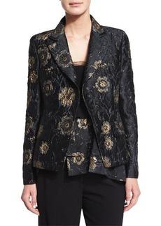 Donna Karan Metallic Floral-Embroidered Jacket