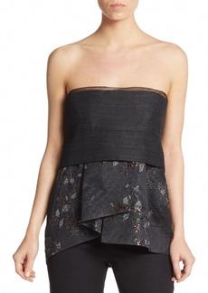 DKNY Donna Karan Mixed-Media Bustier Peplum Top