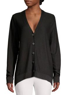DKNY Donna Karan Mixed Media Button Cardigan