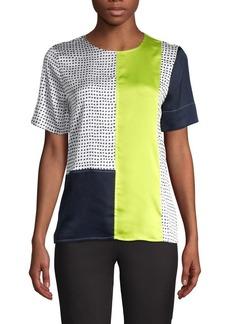 DKNY Donna Karan Mixed-Media Short-Sleeve Top